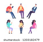 people sitting. girl and boy...   Shutterstock .eps vector #1203182479
