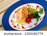 appetizing roasted trout fillet ... | Shutterstock . vector #1203182779