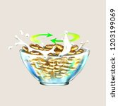 cereal oatmeal splashes of milk ... | Shutterstock .eps vector #1203199069