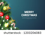 merry christmas background with ... | Shutterstock .eps vector #1203206083