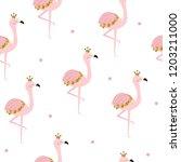 pink flamingo princess seamless ... | Shutterstock .eps vector #1203211000
