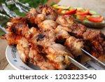 barbecue grilled chicken kebabs ... | Shutterstock . vector #1203223540