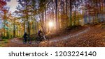 cycling  mountain biker couple... | Shutterstock . vector #1203224140