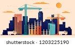 building under construction...   Shutterstock .eps vector #1203225190