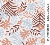 vector seamless tropical leaves ...   Shutterstock .eps vector #1203225226