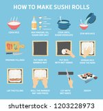 how to make sushi rolls at home ...   Shutterstock .eps vector #1203228973