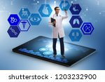 telehealth concept with doctor... | Shutterstock . vector #1203232900