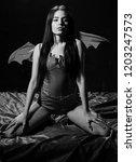 sexy devil concept. girl sexy... | Shutterstock . vector #1203247573