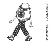 human eye walks on its feet... | Shutterstock . vector #1203253510