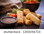 fried chinese  spring rolls | Shutterstock . vector #1203256723
