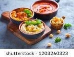 pumpkin hummus red pepper... | Shutterstock . vector #1203260323