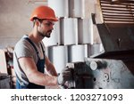 portrait of a young worker in a ... | Shutterstock . vector #1203271093