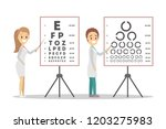 oculist doctor couple pointing... | Shutterstock .eps vector #1203275983