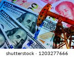the oil pump  the dollar and... | Shutterstock . vector #1203277666