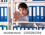 young male employee working in...   Shutterstock . vector #1203281356