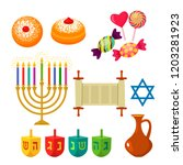 set of icons for the jewish... | Shutterstock .eps vector #1203281923