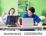 woman and man doctors...   Shutterstock . vector #1203284356