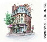 watercolor sketch of typical... | Shutterstock . vector #1203287653