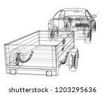sedan with open trailer sketch. ... | Shutterstock .eps vector #1203295636