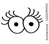 doodle cartoon eyes on a white... | Shutterstock .eps vector #1203299953