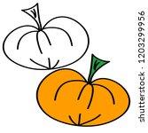 doodle pumpkin cartoons on... | Shutterstock .eps vector #1203299956