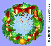 christmas wreath with ribbons ... | Shutterstock .eps vector #1203300703