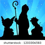 saint nicholas  devil and angel ... | Shutterstock .eps vector #1203306583