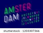 thin modern font design ... | Shutterstock .eps vector #1203307366