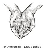 folded arms  cupped or open... | Shutterstock .eps vector #1203310519