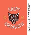 happy halloween is a vector...   Shutterstock .eps vector #1203333529