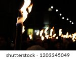 Torches At Night In A Procession