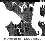 simple map of seattle ... | Shutterstock .eps vector #1203345520