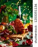 glazed roast ham with cloves... | Shutterstock . vector #1203351136