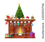 red brick classic fireplace... | Shutterstock .eps vector #1203353746