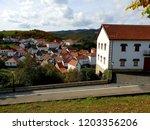 Stock photo panoramic views of the village jaurrieta irati forest 1203356206