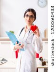 young doctor in heart care...   Shutterstock . vector #1203360433