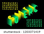 isometric 3d font design  three ... | Shutterstock .eps vector #1203371419