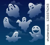 set of ghosts with different... | Shutterstock .eps vector #1203376243