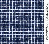 crumpled grid indigo dyed... | Shutterstock . vector #1203378649