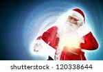 santa holding christmas letters ... | Shutterstock . vector #120338644