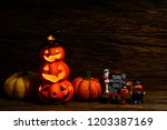 halloween  pumpkin and black... | Shutterstock . vector #1203387169