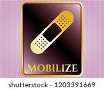 gold emblem with bandage... | Shutterstock .eps vector #1203391669