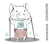 cute cartoon pig with nordic... | Shutterstock .eps vector #1203396190