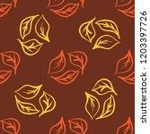 seamless foliage pattern. gold...   Shutterstock .eps vector #1203397726