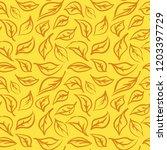 seamless foliage pattern. gold...   Shutterstock .eps vector #1203397729