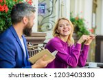 man and woman sit cafe terrace. ...   Shutterstock . vector #1203403330