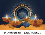 happy diwali festival with oil... | Shutterstock .eps vector #1203405523