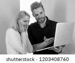 amazing project. man presenting ... | Shutterstock . vector #1203408760