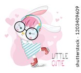 cute bunny dancer  | Shutterstock .eps vector #1203409609