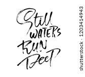 still waters run deep. hand... | Shutterstock .eps vector #1203414943